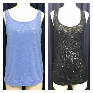 2 Tank Tops with Flat Sequins Wet Seal Express M/L